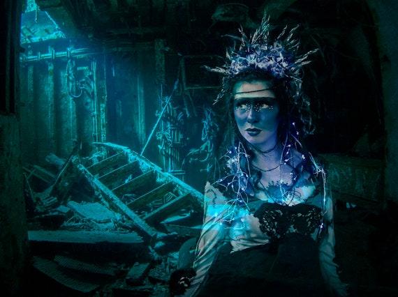 Deep Sea Siren Recycled Head dress Crown - Black Headpiece with Blue LED lights