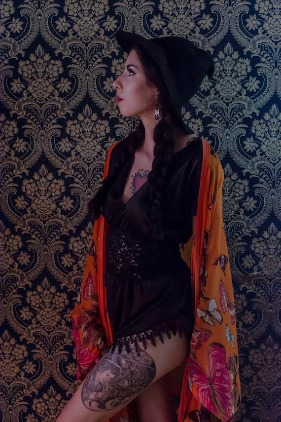 Orange Butterfly Kaftan Kimono Cover Up Robe