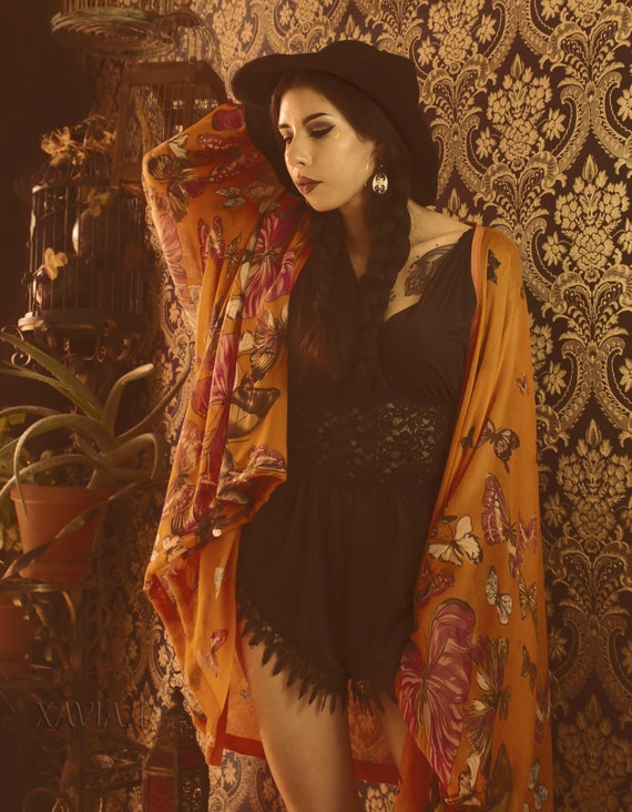 Orange Butterfly Kaftan Kimono Cover Up Robe
