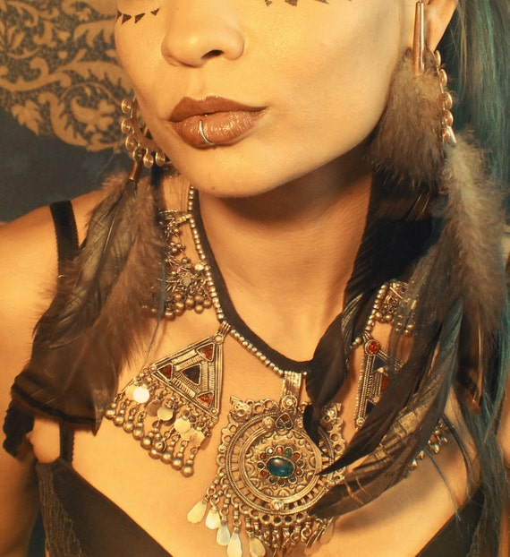 Tribal Wire Wrap Feather Ear Cuff, Wrap and Earring Set -Black, and brown with Turkey feathers