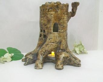 Tree Stump Fairy House and/or Night Light - Handmade on the Potters Wheel