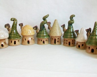 Garden Fairy Houses - You Pick  3-10 or more - Houses/Tree - Handmade on the Potters Wheel - You Choose - Made to Order