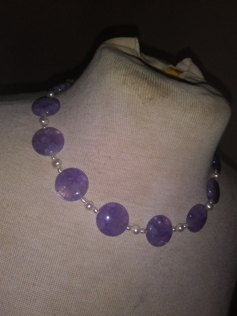 Length 18 Pearl /& Sterling Silver Necklace Lovely Lavender Brazilian Amethyst