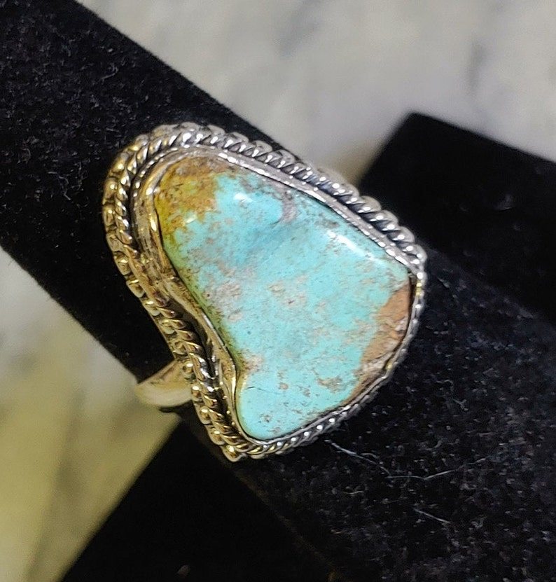 Raw Abstract Cut Turquoise /& Sterling Silver Statement Ring Size 8