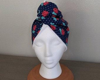 Spa Hair Wrap, Navy Retro Polka Floral