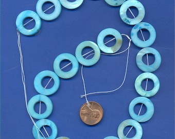"16"" strand of 20mm Mother of Pearl Donut beads, Blue"