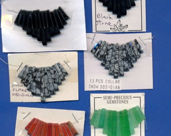 10 Gemstone Collars, 13 tines each,  Assorted, Lot 3289
