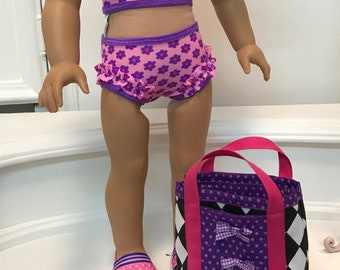 NEW! American Made Two-piece micro ruffled Swimsuit / bag and sandals made to fit 18 inch  dolls such as American Girl
