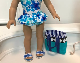 NEW! American Made One-piece double ruffled Swimsuit/ beach bag and sandals to fit 18 inch doll