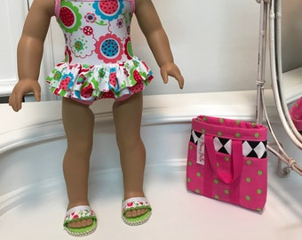 NEW! American Made One-piece double ruffled Swimsuit/beach bag and sandals made to fit 18 inch dolls such as American Girl
