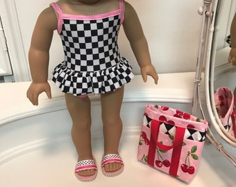 NEW! American Made One-piece double ruffled Swimsuit/ bag and sandals made to fit 18 inch dolls such as American Girl