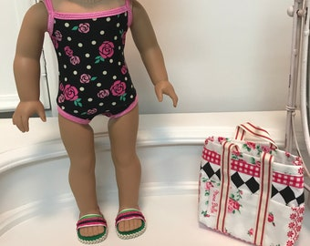 American Made Swimsuit/ bag and sandals made to fit 18 inch dolls such as American Girl
