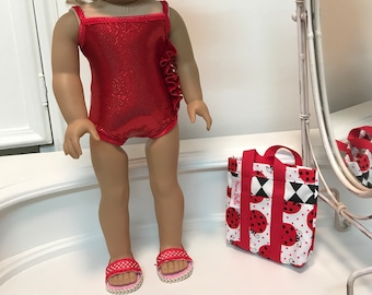 American Made Suncatcher Swimsuit/ beach bag and sandals to fit 18 inch doll