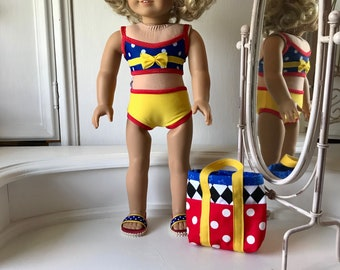 NEW! American Made Two-piece  Swimsuit/ beach bag and sandals made to fit 18 inch  dolls such as American Girl