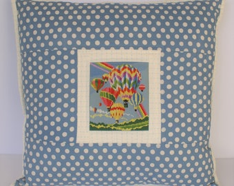 Cross stitch pillow couch pillow hot air balloon upcycled decor gifts for her mother's day present decorative pillows accent pillow