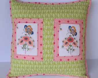 Needlework pillow couch pillow  housewarming gift upcycled decor gifts for her mother's day present decorative pillows accent pillow