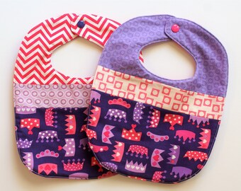 Princess bib set of 2 baby girl baby bib baby clothes quilted bib baby gift pink purple bib girl toddler bib