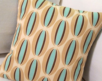 Blue Modern Pillow Cover - Aqua, Taupe, Choc Brown Loops - Chris Stone Home Dec Fabric - Boho - Many Sizes Available