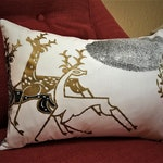Vintage Christmas - MCM Reindeer Art Deco Christmas Pillow Cover - INSERT INCLUDED - Metallic Gold Deer - Rare Vintage Fabric