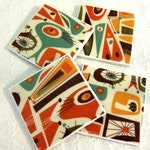 "Mod Atomic Retro Drink Coasters - Ragnar - GREAT Gift Idea - Ceramic Tile & Fabric - Orange, Teal, Cream - Set of 4 -- approx 4"" x 4"""