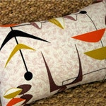 "Mad Men MCM Pillow Cover - Mobiles - Orange, Brown, Gold - Vintage Barkcloth - 17"" x 17"" for 18"" insert"