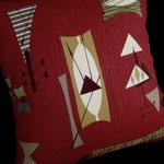 Retro Pillow Cover - Crimson Mambo Chris Stone Repro Barkcloth - Many sizes available