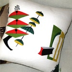 Mid Century Modern Pillow - Atomic 50s Vintage Barkcloth Pillow Cover -  Jetsons Spacely Sprocket