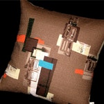 "Mid Century Barkcloth Pillow Cover - MCM Architectural Elements on Vintage Barkcloth - Shown with 18"" x 18"" insert - Many Sizes Available"