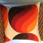 Mid-Century Danish Modern Pillow Cover - 1960s 70s Vintage Fabric - Burnt Orange, Brown, White - Many Sizes Available