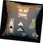 Retro Mambo Throw Pillow Cover - Grey Atomic Tiki - Chris Stone Barkcloth