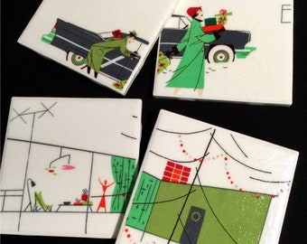 "Mid Century Modern Christmas - Retro Coasters - 1950s MCM - Ceramic Tiles & Fabric - Set of 4 - approx 4"" x 4"""