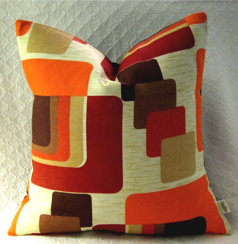 Mid Century Danish Modern Pillow Cover  1960s Mod  Burnt image 0