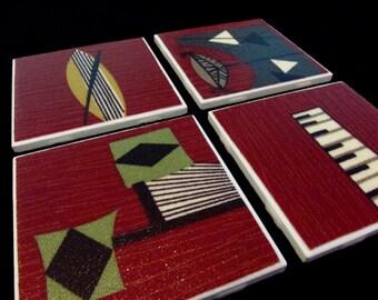 "Retro Barkcloth Drink Coasters - GREAT Gift Idea -  Barkcloth & Ceramic Tile - Crimson Red - Set of 4 - approx 4"" x 4"""