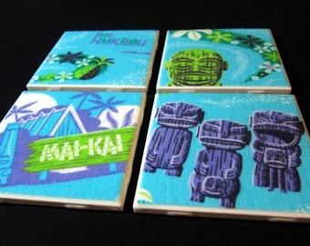 """Tiki Coasters - Mai Kai Hukilau - GREAT Gift Idea - Ceramic Tile & Barkcloth -- Set of 4 -- approx 4"""" x 4"""""""