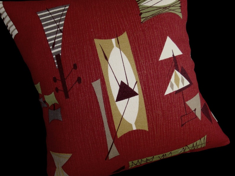 Retro Pillow Cover  Crimson Mambo Chris Stone Repro Barkcloth image 0