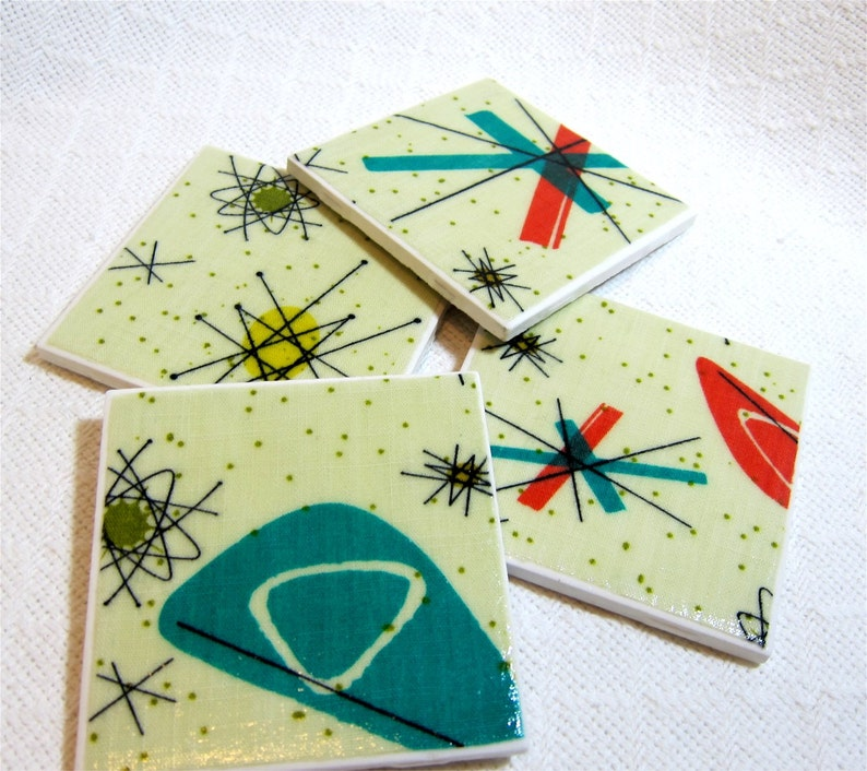 Atomic Starburst Drink Coasters  Great Gift Idea  Ceramic image 0