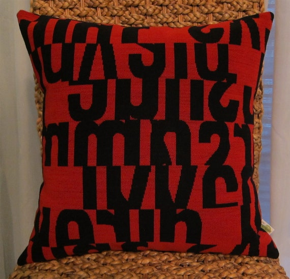 Maharam LETTERS PURPLE fabric Modern Mid Century Pillow  w INSERT