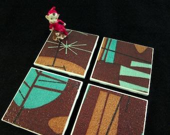 "Retro Hawaiian Lounge Barkcloth Coasters - Turquoise and Brown - GREAT Bar Gift - Ceramic Tiles & Barkcloth - Set of 4 - approx 4"" x 4"""
