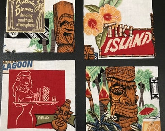 "Tiki Island Coasters - Hawaiian Theme - WHITE Background - GREAT Gift Idea - Ceramic Tile & Barkcloth -- Set of 4 -- approx 4"" x 4"""
