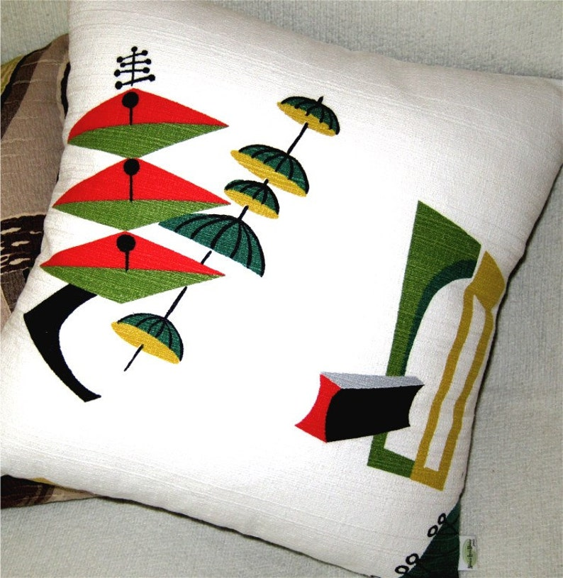 Mid Century Modern Pillow  Atomic 50s Vintage Barkcloth image 0