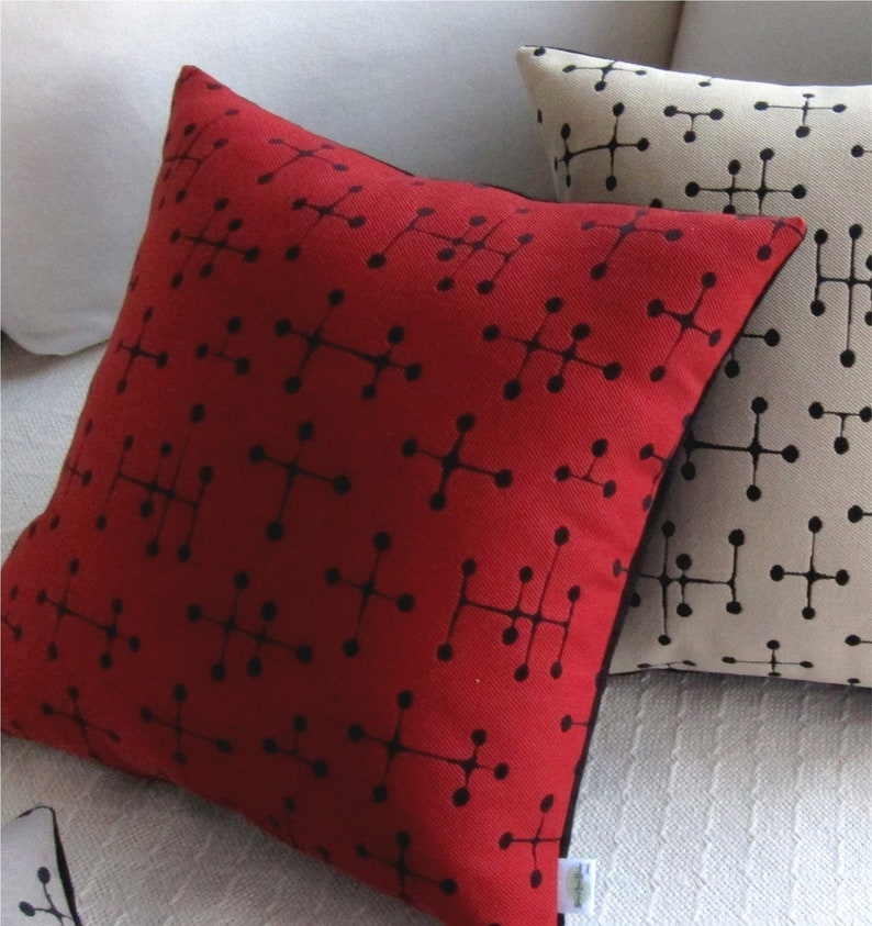 Eames Dot Mid Century Modern Throw Pillow Cover  Eames Red image 0