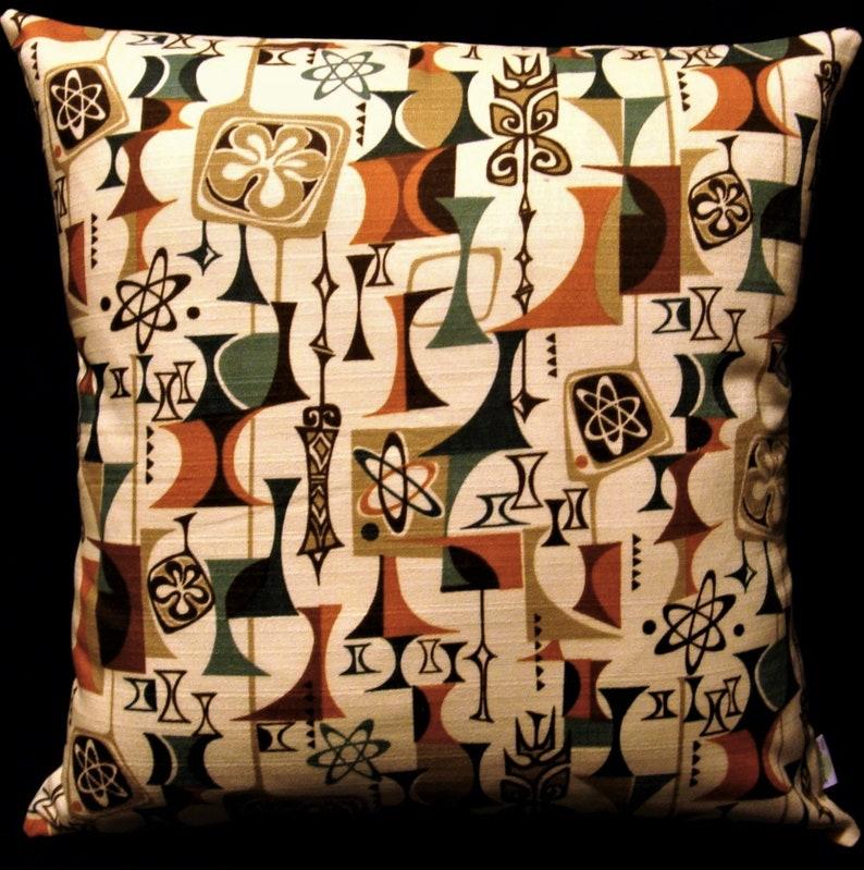 Atomic Tiki Retro Barkcloth Pillow Cover  Cream Rust Teal image 0