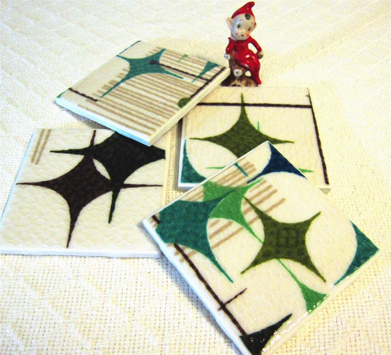 Vintage Starlight Room Barkcloth Coasters  GREAT Gift Idea  image 0