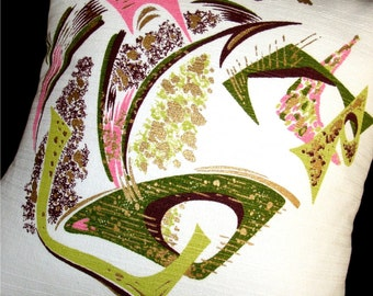 """Retro Barkcloth Throw Pillow Cover -- MAD MEN Lime Green and Pink -- Shown with 18"""" x 18"""" insert"""