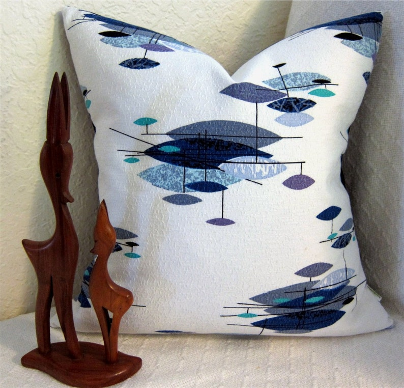 Mid Century Modern Pillow Cover  Vintage Barkcloth  Jetsons image 0