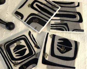 """Vintage Mid Century Modern Textile Coasters - GREAT Gift Idea - Blk Grey Metallic Gold Off Wht - Ceramic Tiles - Set of 4 - approx 4"""" x 4"""""""