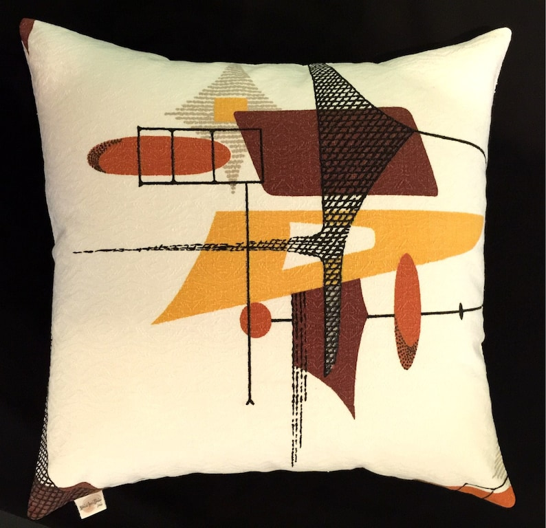 Mid-Century Modern Space Age Barkcloth Pillow Cover  Russet image 0