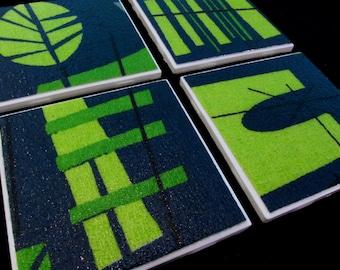 "Retro Barkcloth Hawaii Lounge Coasters - GREAT Gift Idea -  Barkcloth & Ceramic Tile - Deep Teal, Lime Green - Set of 4 - approx 4"" x 4"""