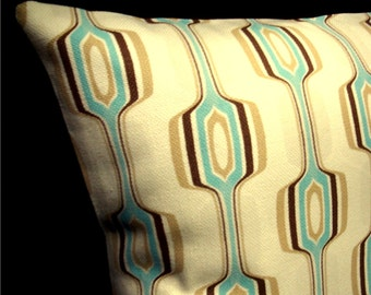 Aqua on Cream Geometric Modern Pillow Cover - Chris Stone Designer fabric - Many Sizes Available