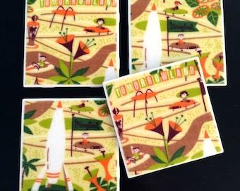 "Retro Disneyland Coasters - Tomorrow Land - GREAT Gift Idea - Ceramic Tile & Barkcloth -- Set of 4 -- approx 4"" x 4"""